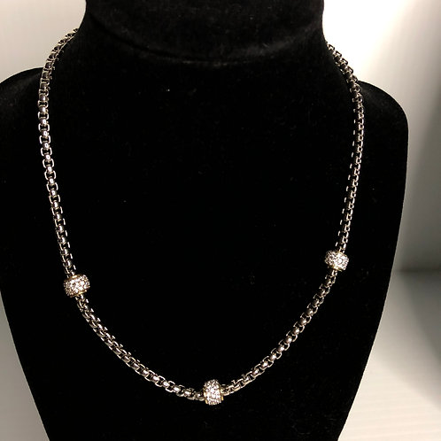 Silver rhodium plated magnet chain with 3 small silver balls