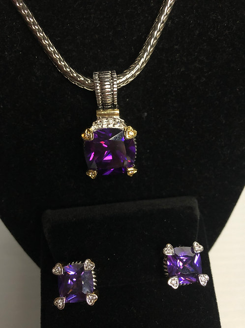 Designer look Amethyst pendant & Lever Back Earrings