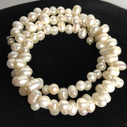 White multi strand Freshwater coiled pearl bracelet