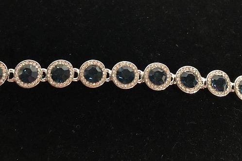Swarovski crystal round line bracelet - NAVY BLUE