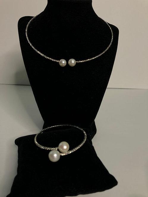 SILVER AUSTRIAN crystal choker and matching bracelet