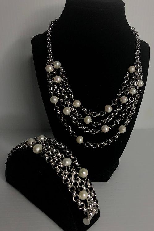 Designer 4 STRANDS necklace and bracelet set with white FWP