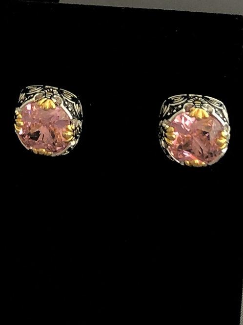 Designer look lever back cubic zircon pink earrings