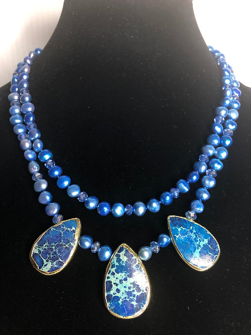 Double strand blue dyed FWPs with 3 tear shaped drops