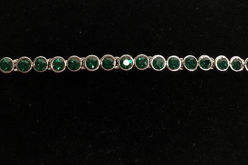 Swarovski crystal round line bracelet - GREEN