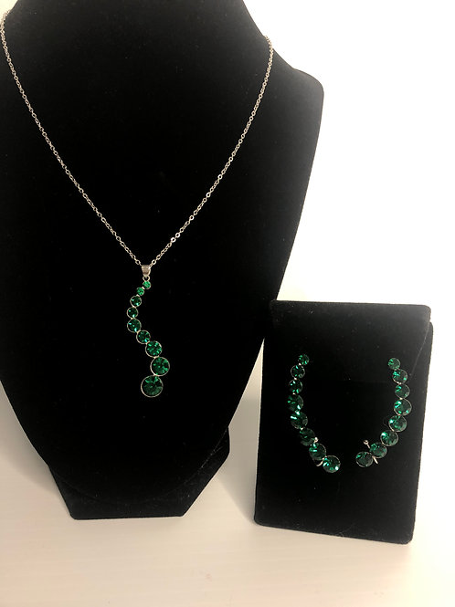 Green Swarovski crystal pendant with matching earring climbers
