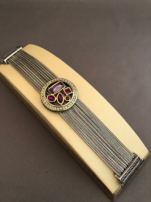 Designer look Amethyst Cubic Zircon magnet bracelet