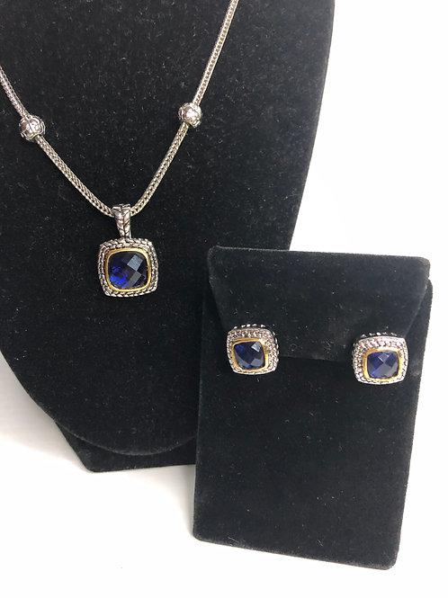 Designer Navy Blue  pendant on Magnet chain with earrings