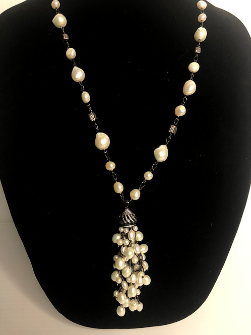 White FWP pearls with S/S on black with dropping tassel