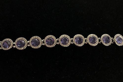 Swarovski crystal round line bracelet - PURPLE