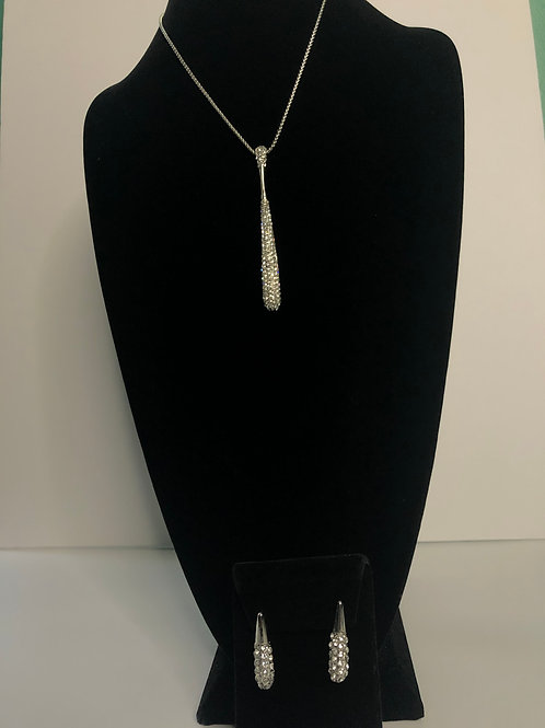 Silver long tear drop shaped SET in clear Swaroski crystals