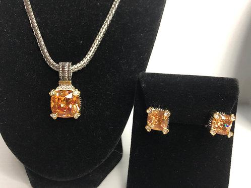 Designer look Champagne pendant & Lever Back earrings