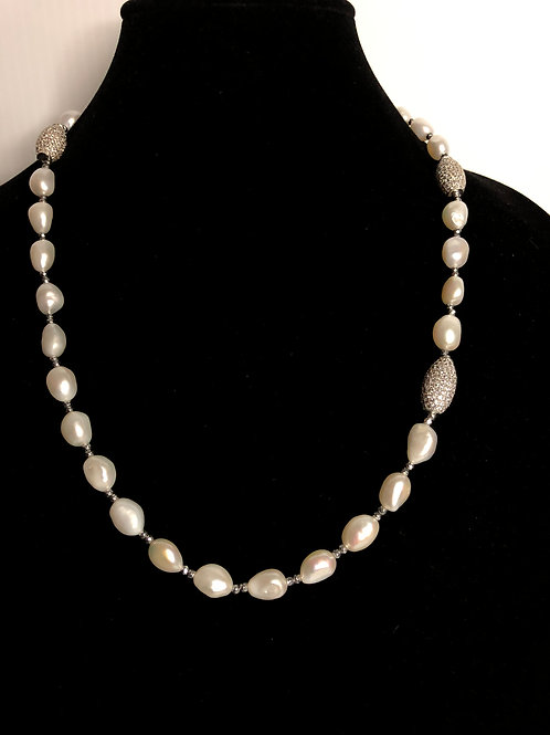 White oval FWP necklace with sterling silver beads