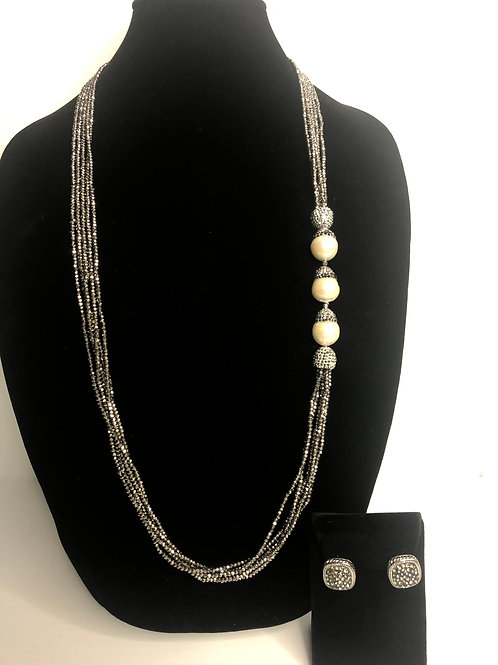 Gray crystals with large white FWP baroque pearls & earrings