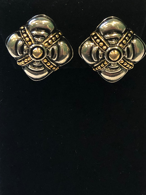Two tone clip on earring