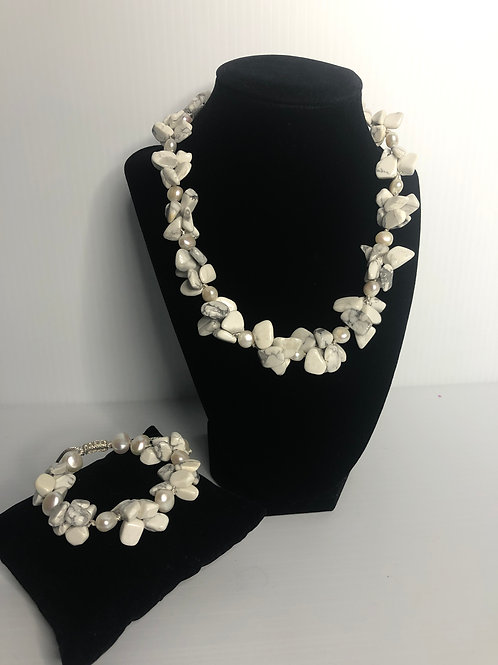 White agate and white FWP necklace and bracelet set