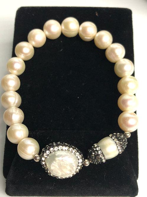 White elastic FWP bracelet with double Swarovski crystal