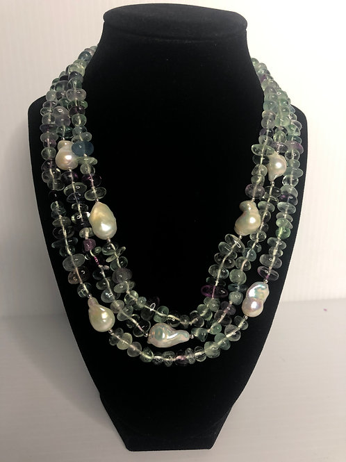 Triple strand Fluorite stones with white large baroque FWP
