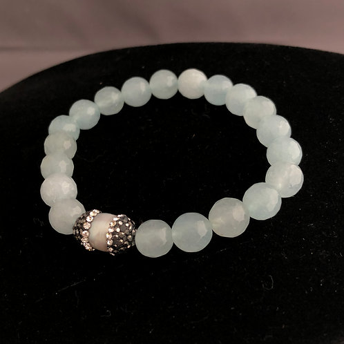 Sky blue elastic bracelet with white Freshwater Cultured pearl