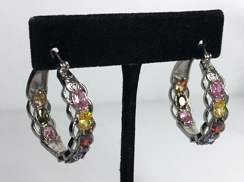 Silver stainless steel hoop earring with Multi- Colored Swarovski