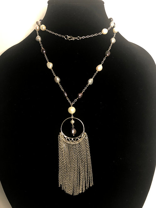 White & black Freshwater Cultured pearls in S/S tassel necklace