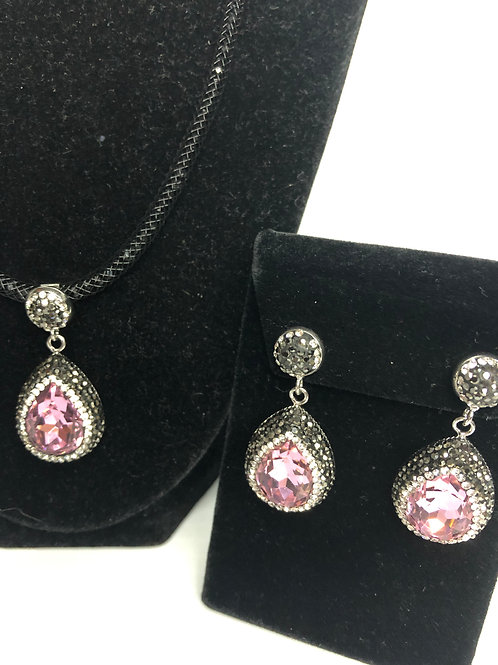 Tear drop Pink crystal Pendant & Earrings