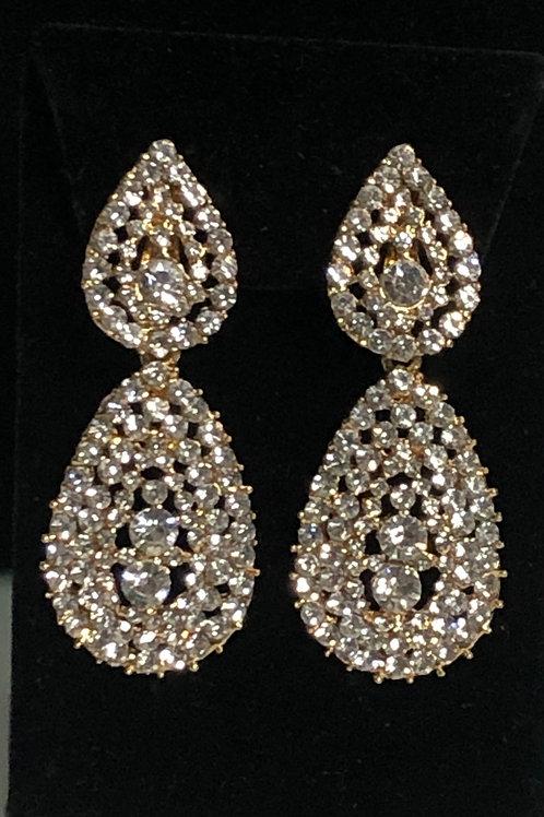 Gold tear drop clip on earrings