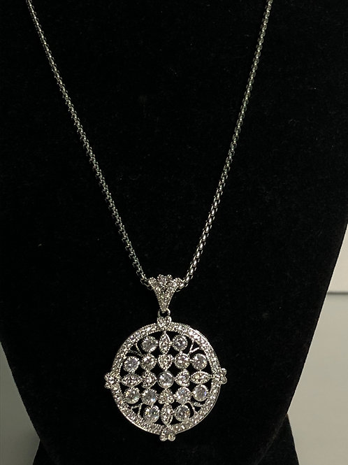 Designer look silver pendant with clear Austrian crystals