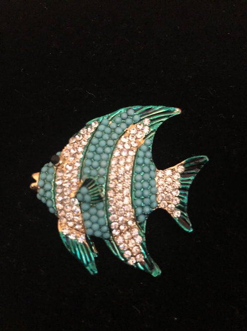 Sky-blue and turquoise fish brooch