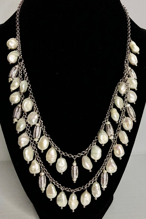 2 strand white Freshwater Cultured pearl necklace