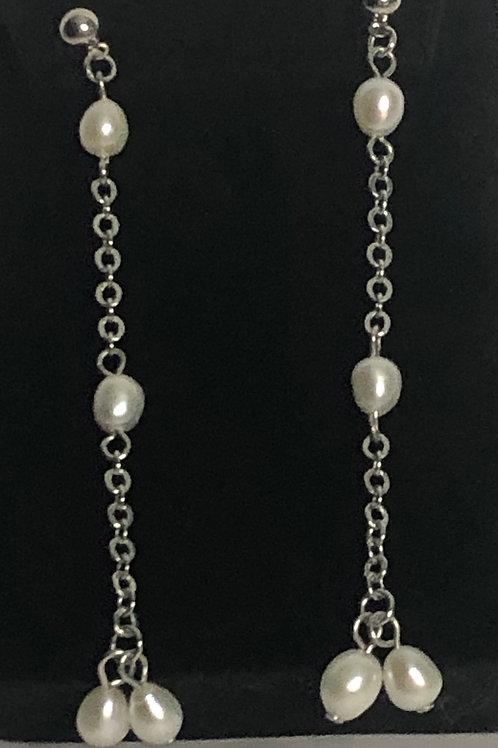 Long white Freshwater Cultured pearl drop pierced earring
