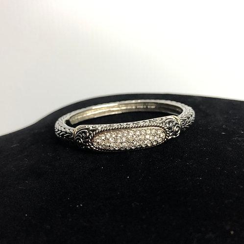 Wider oval designer two tone bracelet with Swarovski crystals