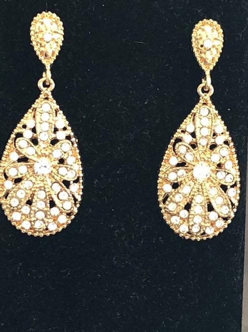 Designer look gold tear drop shaped pierced earrings