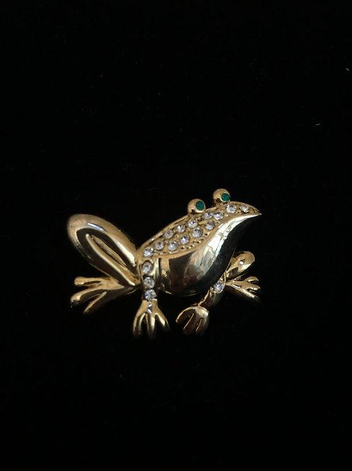 Gold frog brooch