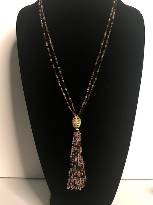 Multi strand flourite tassel necklace with gold plated crown