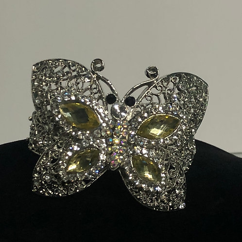 Large silver butterfly Austrian crystal design in hinged  bracelet