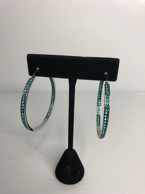 Large silver stainless steel hoop with SKYBLUE Swarovski