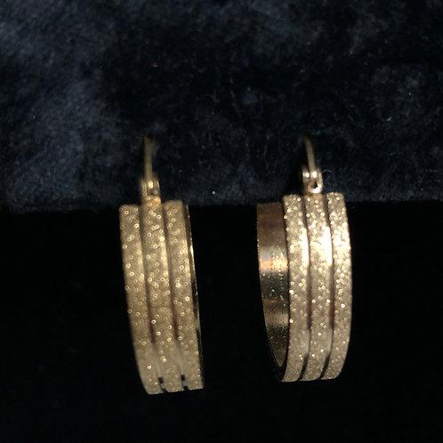 Diamond cut brushed gold stainless steel hoop earring