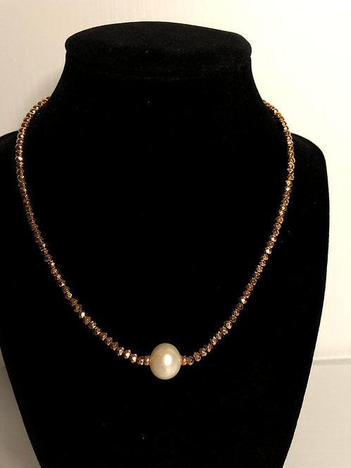 Brown beads with large white FWP necklace