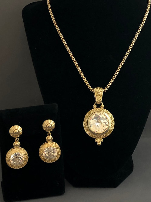 Large gold crystal drop necklace  & pierced earrings