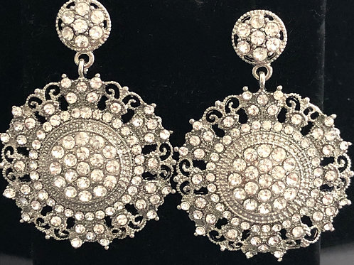 Silver round Moroccan style pierced earring