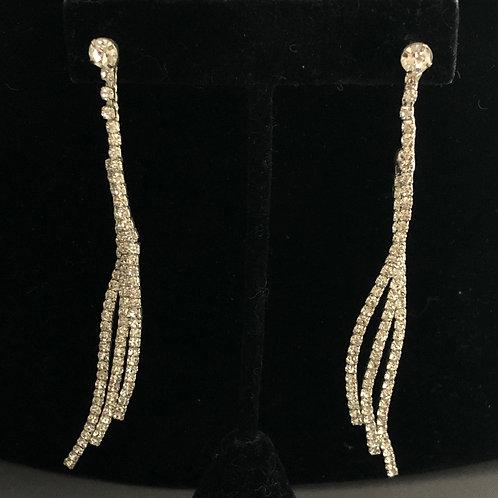 Thin silver Austrian crystal pierced earring