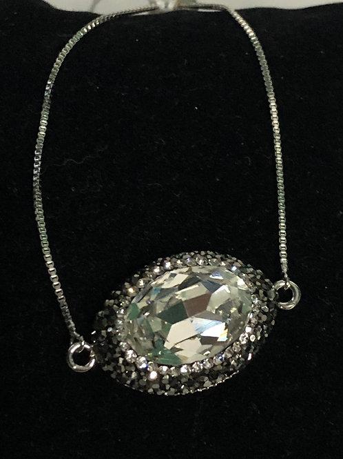 Bolero bracelet in clear Austrian oval crystal. One size fits all.
