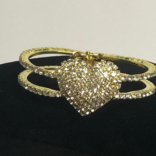 Gold Austrian heart crystal in hinged bangle bracelet