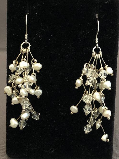 Silver snowflake design with white FWP Swarovski earrings