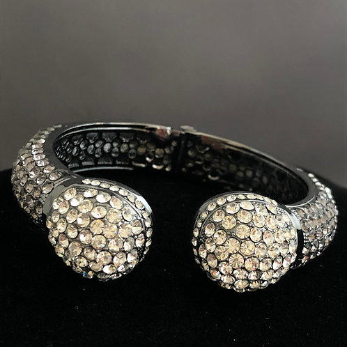 Gray Austrian crystal hinged bracelet with clear balls