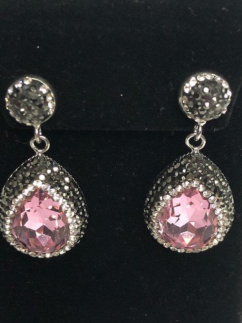 Tear drop Pink on Silver Earrings