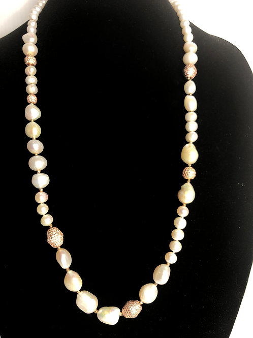 Long white baroque FWP pearl necklace with Rose gold finding