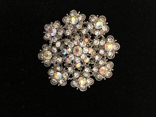 Aurora Borealis Austrian crystal snowflake brooch