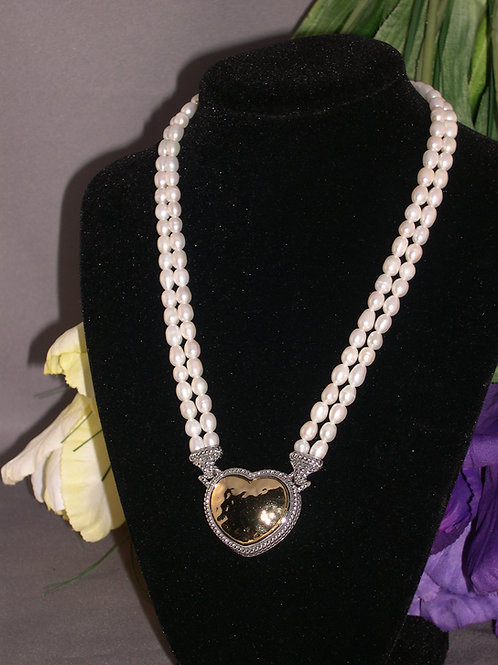 Designer double strand white Freshwater pearl necklace